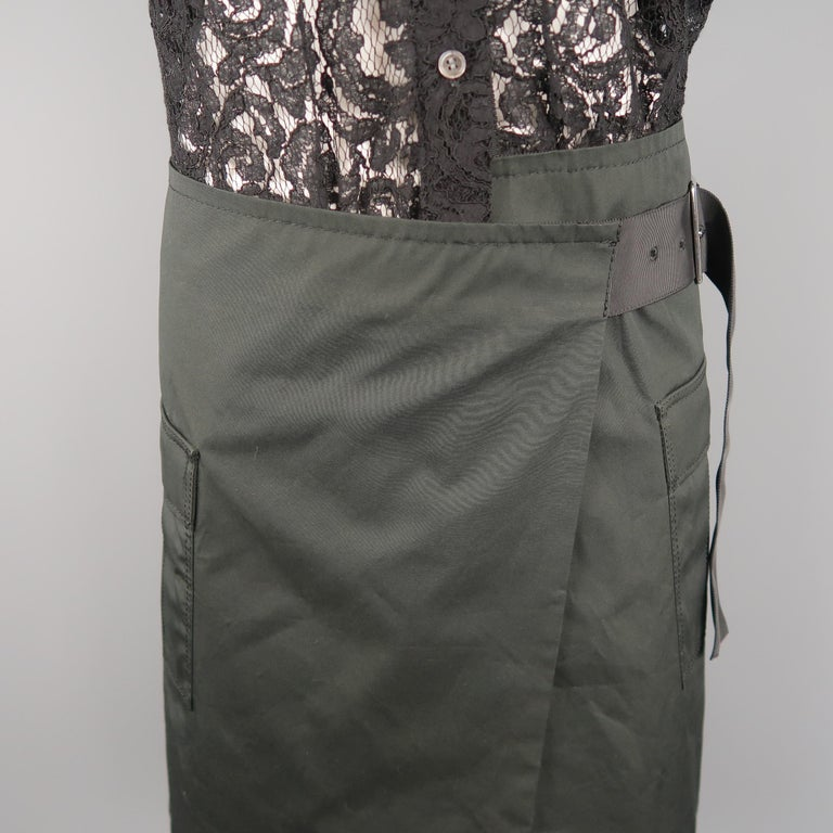 SACAI LUCK Size M Black Lace Wrap Military Skirt Dress For Sale 2