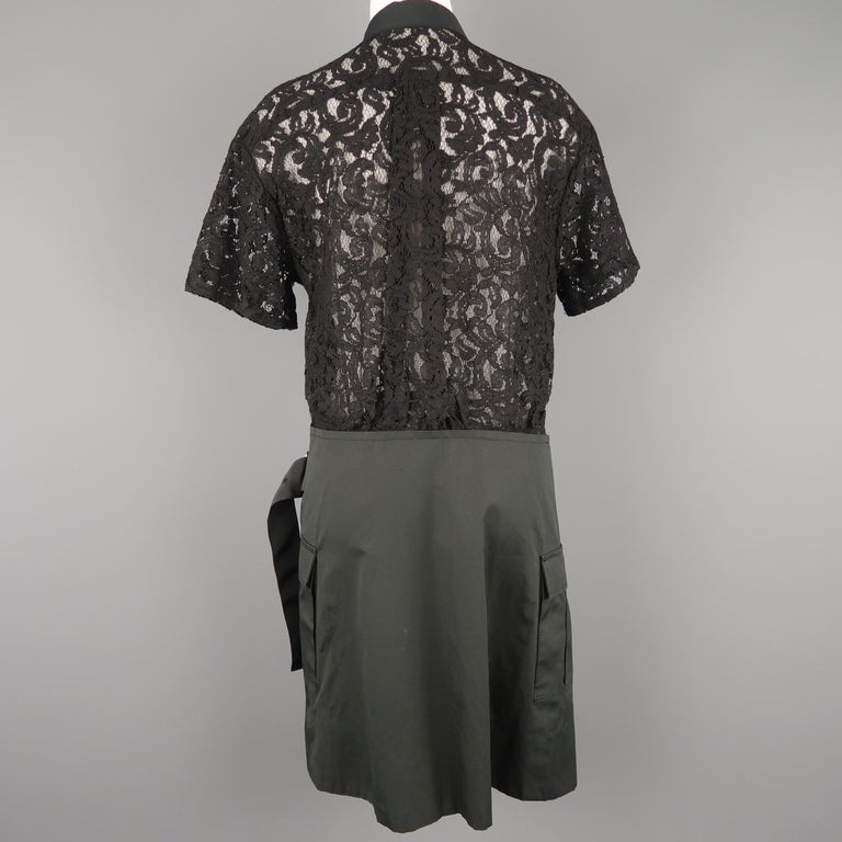 SACAI LUCK Size M Black Lace Wrap Military Skirt Dress For Sale 5