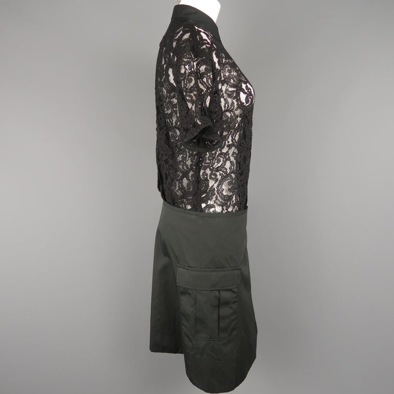 SACAI LUCK Size M Black Lace Wrap Military Skirt Dress For Sale 3