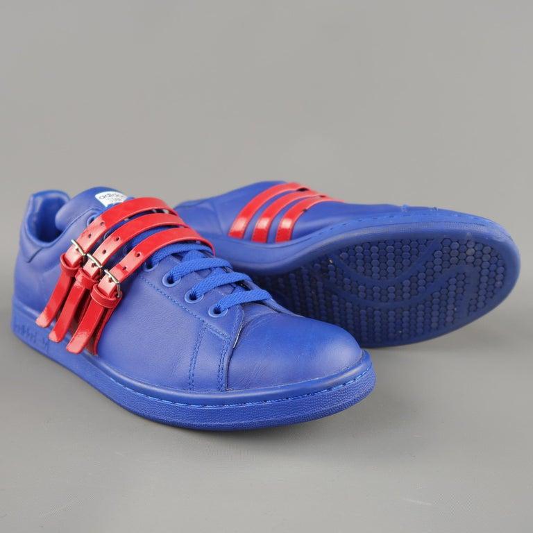 Raf Simons Royalblau Rot Smith Leder And Adidas Größe Stan 9 5 wO80PXnk