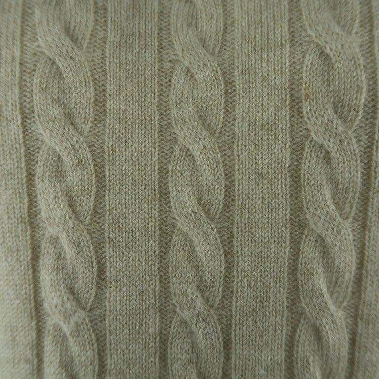 Gray LORO PIANA Size 40 Khaki Cable Knit Cashmere Sweater For Sale