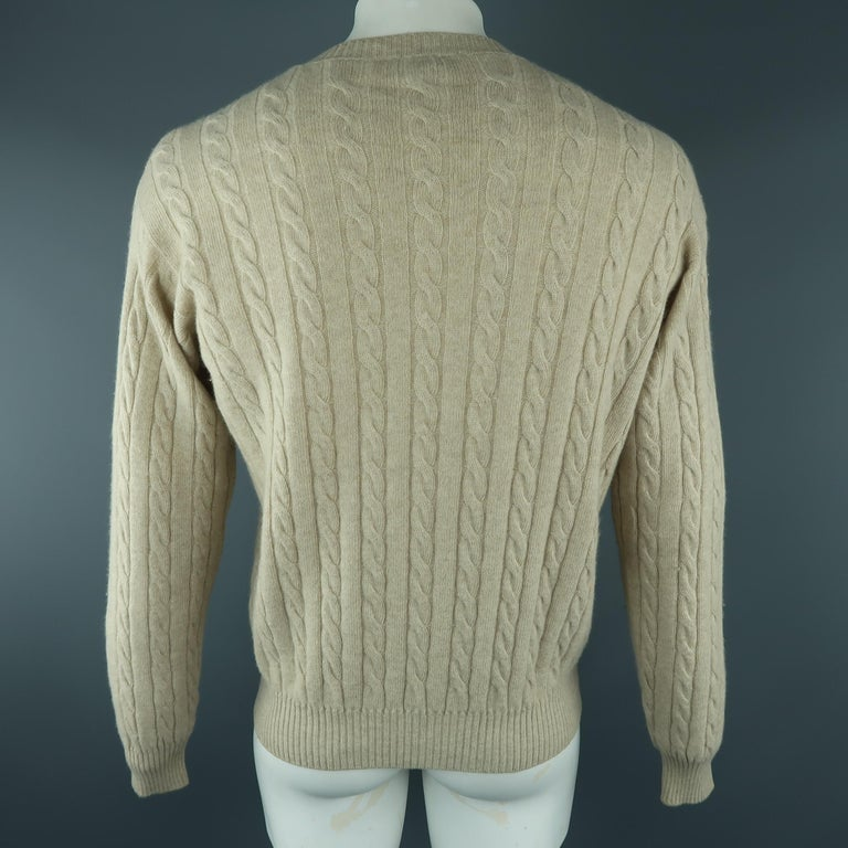 LORO PIANA Size 40 Khaki Cable Knit Cashmere Sweater In Excellent Condition For Sale In San Francisco, CA