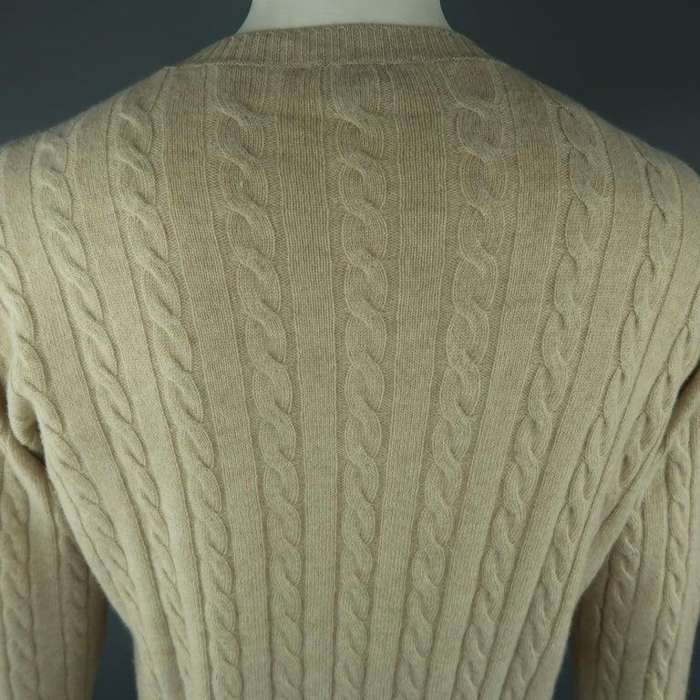 Men's LORO PIANA Size 40 Khaki Cable Knit Cashmere Sweater For Sale