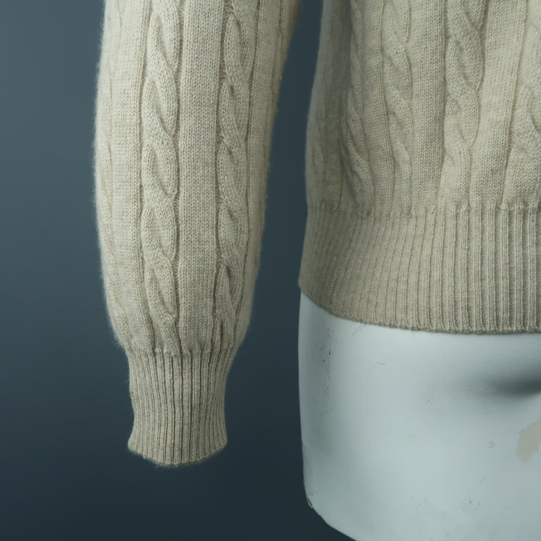 LORO PIANA Size 40 Khaki Cable Knit Cashmere Sweater For Sale 1