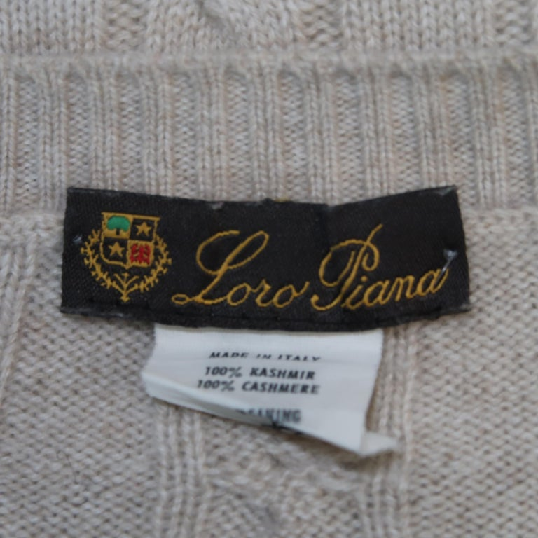 LORO PIANA Size 40 Khaki Cable Knit Cashmere Sweater For Sale 2