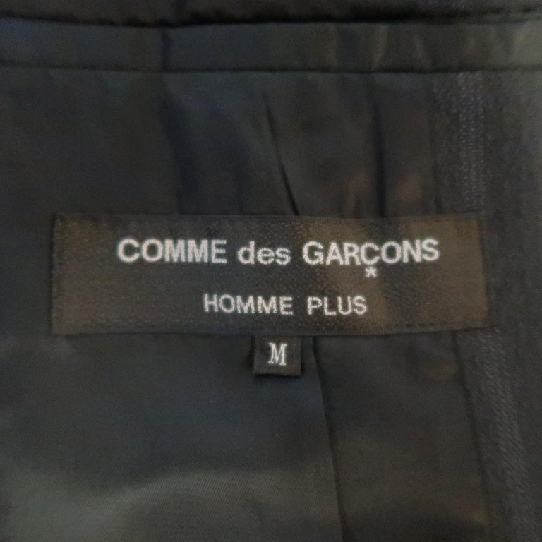 COMME des GARCONS M Gray Striped Jacquard Armor Sleeve Jacket For Sale 8