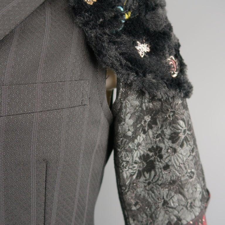 Men's COMME des GARCONS M Gray Striped Jacquard Armor Sleeve Jacket For Sale