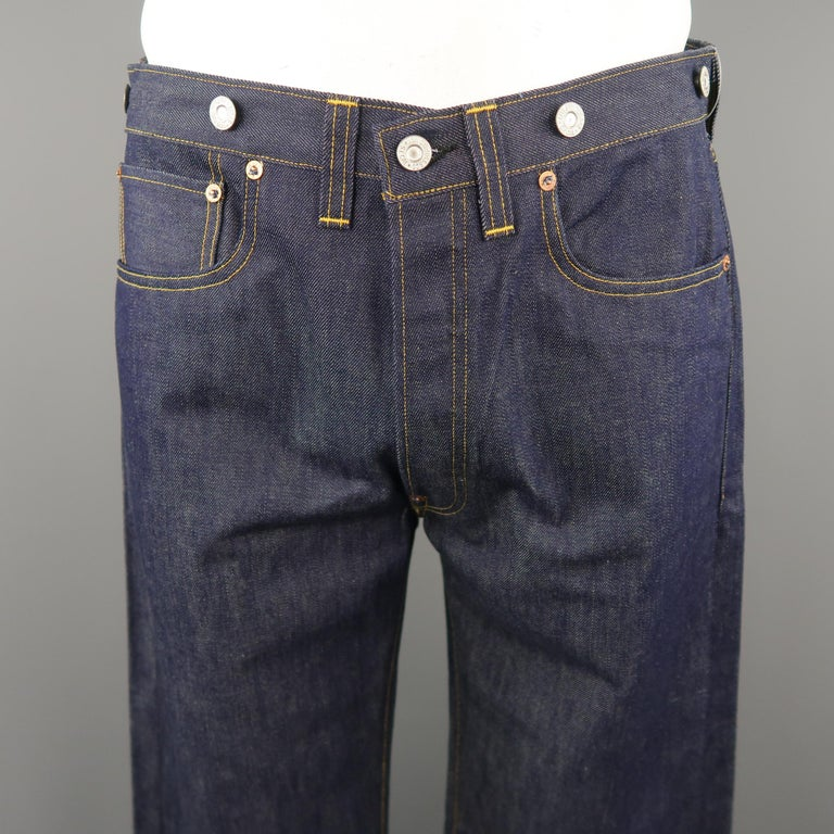 Levi S Vintage Size 33 Indigo Solid Selvedge Denim Jeans At 1stdibs