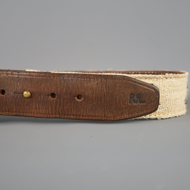 RRL by RALPH LAUREN Size 32 Brown Leather Rope Belt In Good Condition For Sale In San Francisco, CA