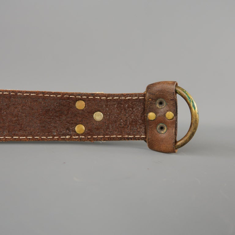 RRL by RALPH LAUREN Size 32 Brown Leather Rope Belt For Sale 2
