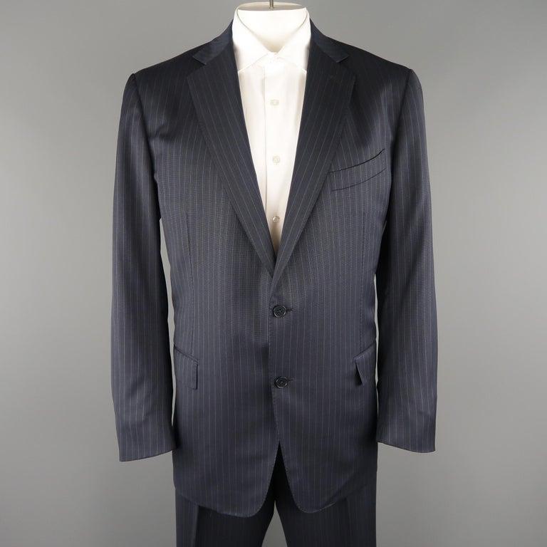 eca18cec93 ERMENEGILDO ZEGNA 50 Navy Stripe Wool / Silk Single Breasted Notch lapel  Suit