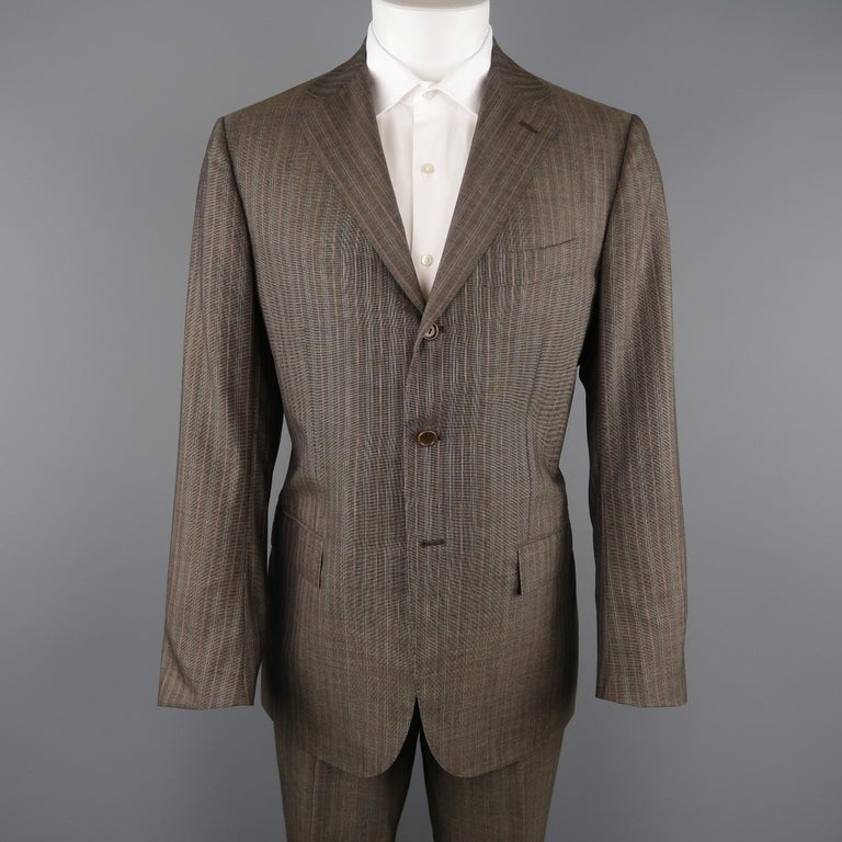 KITON two piece suit comes in brown Nailhead cashmere with an all over orange and beige pinstripe and includes a single breasted, three button, notch lapel sport coat  and matching flat front, cuffed trousers.   Made in Italy.  Excellent Pre-Owned