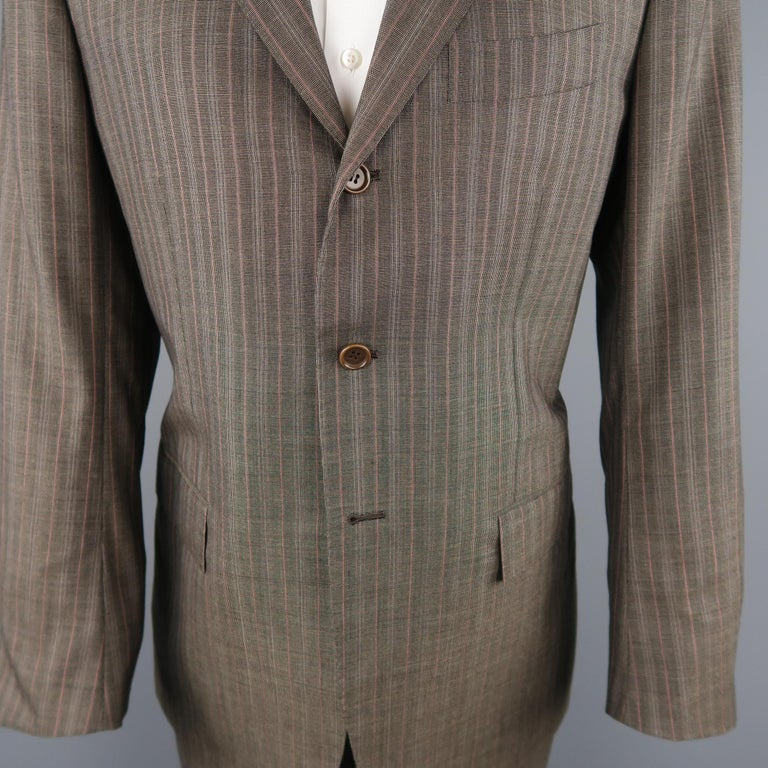 KITON 42 Regular Brown & Orange Pinstripe Cashmere 3 Button Notch Lapel Suit In Excellent Condition For Sale In San Francisco, CA
