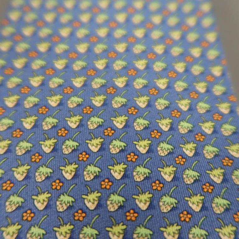 Gray SALVATORE FERRAGAMO Blue & Green Strawberry Print Silk Tie For Sale