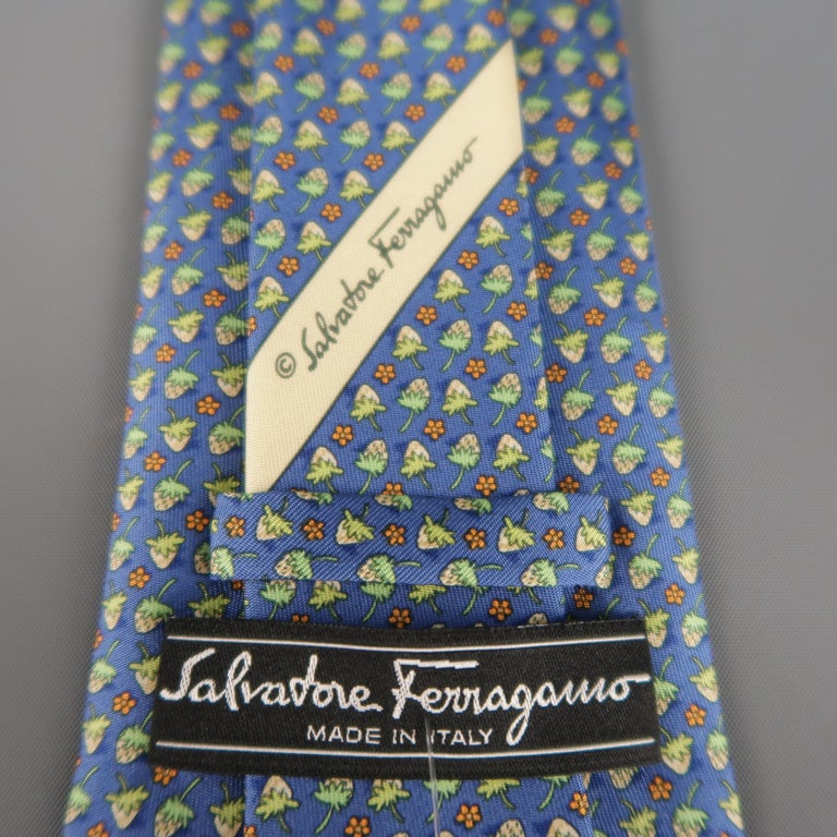 SALVATORE FERRAGAMO Blue & Green Strawberry Print Silk Tie In Excellent Condition For Sale In San Francisco, CA