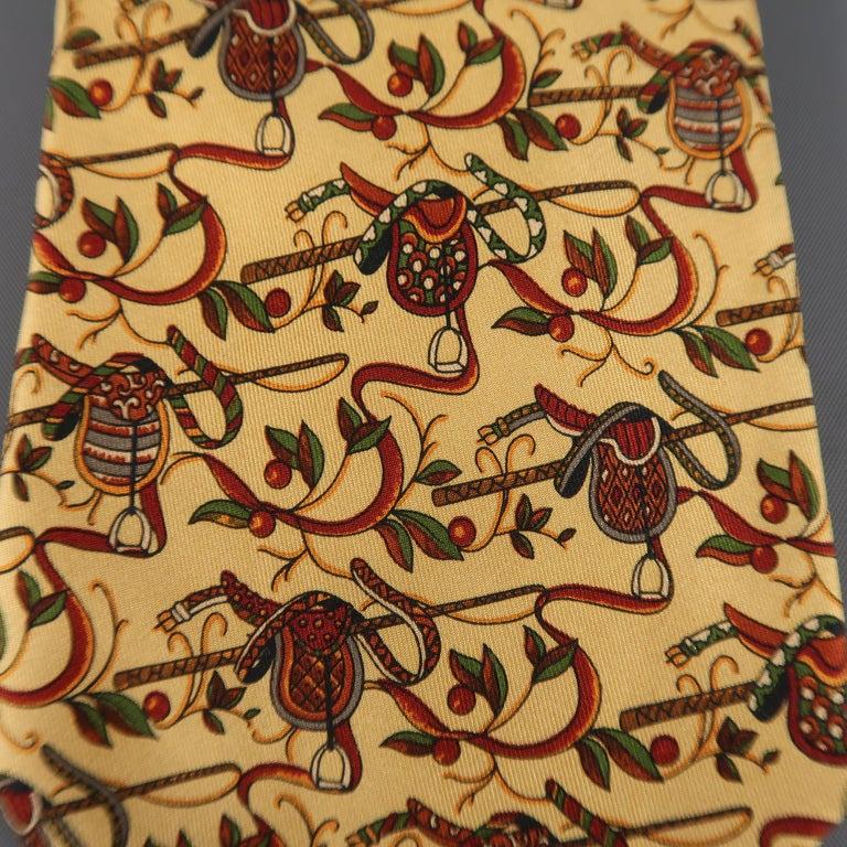Brown SALVATORE FERRAGAMO Gold Saddle Print Silk Tie For Sale