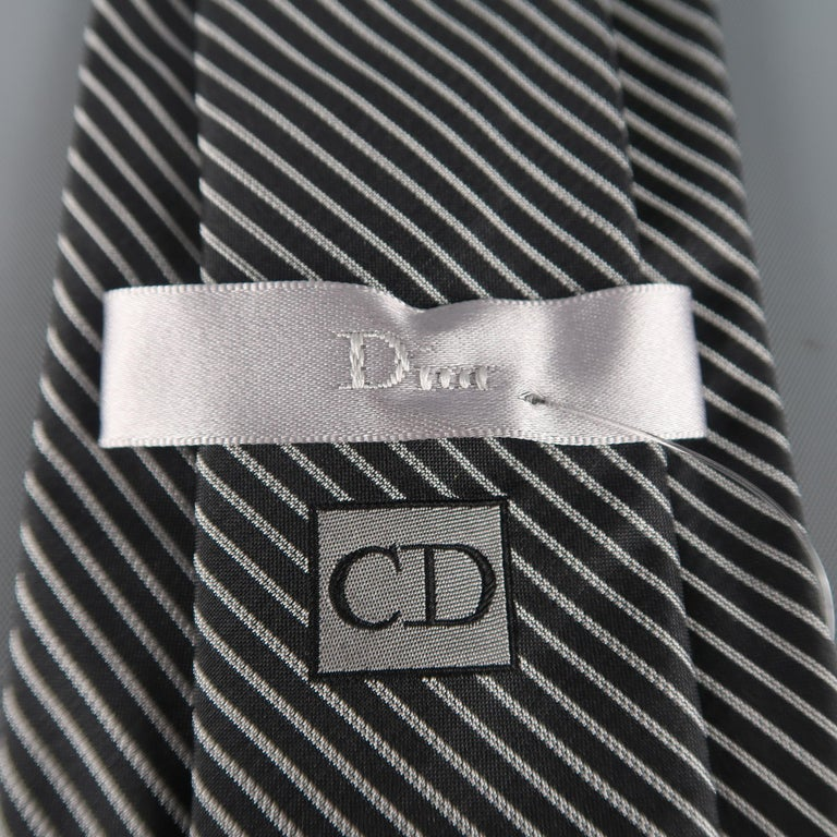 Men's DIOR HOMME Black & Silver Diagonal Stripe Silk Tie For Sale