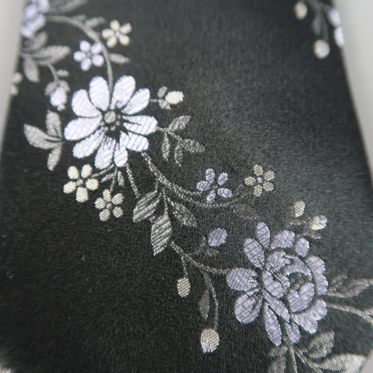 VALENTINO Black Lavender Flowers Silk Floral Tie In Excellent Condition For Sale In San Francisco, CA
