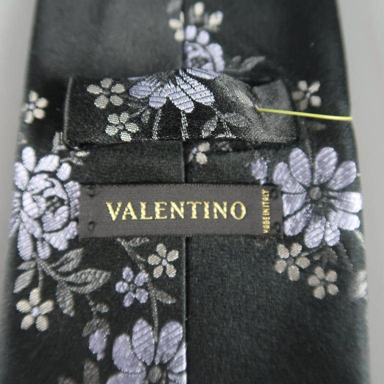 Men's VALENTINO Black Lavender Flowers Silk Floral Tie For Sale
