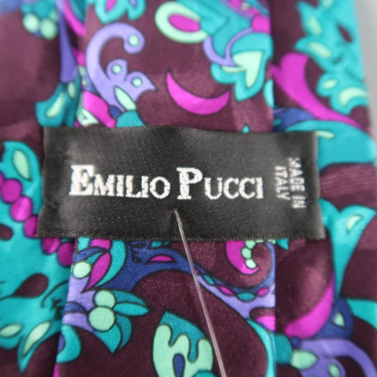 EMILIO PUCCI Brown Leaves Print Silk Tie In Excellent Condition For Sale In San Francisco, CA