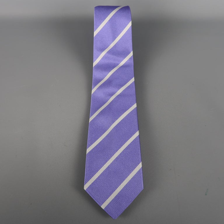 RALPH LAUREN  PURPLE LABEL tie come in purple silk with diagonal silver stripes and a brass ring buckle. Made in Italy.   Excellent Pre-Owned Condition.   Width: 3 in.