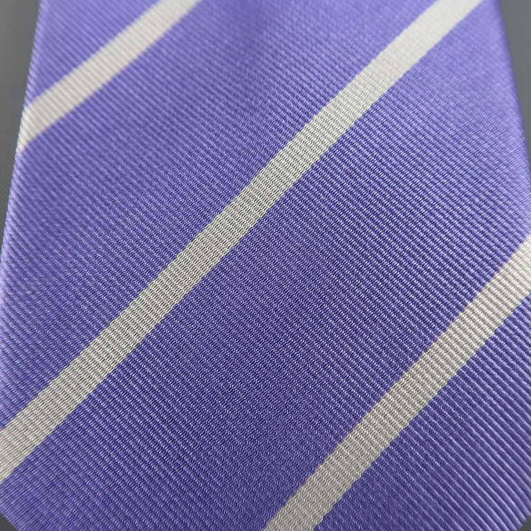RALPH LAUREN Purple Label Diagonal Silver Striped Silk Tie In Excellent Condition For Sale In San Francisco, CA