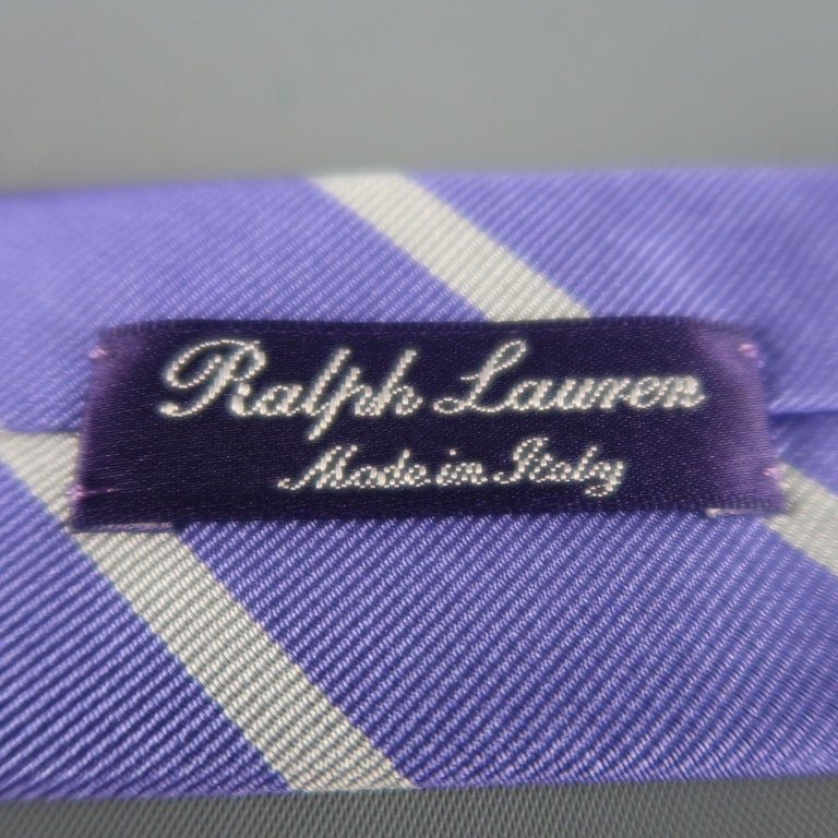 Men's RALPH LAUREN Purple Label Diagonal Silver Striped Silk Tie For Sale