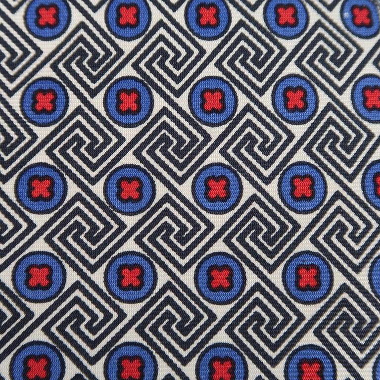 Black KITON Blue & Red Crosses Silk Tie For Sale