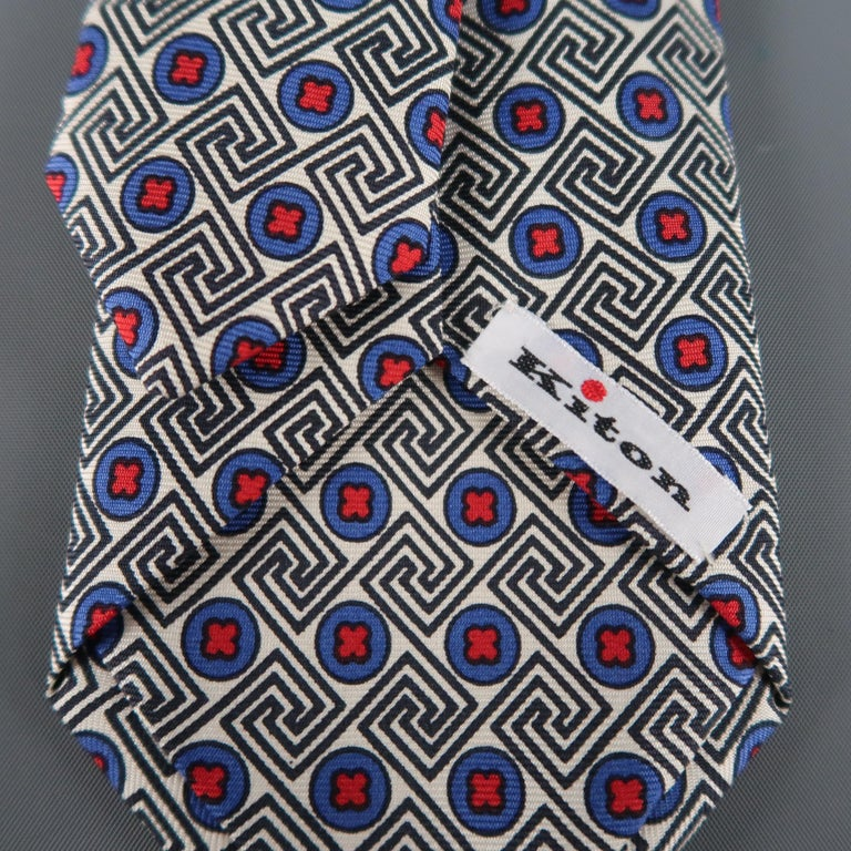 KITON Blue & Red Crosses Silk Tie In Excellent Condition For Sale In San Francisco, CA