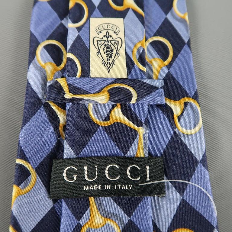 Men's GUCCI Purple Rhombus Horsebit Silk Tie For Sale