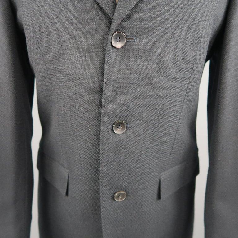 Black GUCCI 36 Navy Woven Wool / Mohair Notch Lapel Sport Coat For Sale