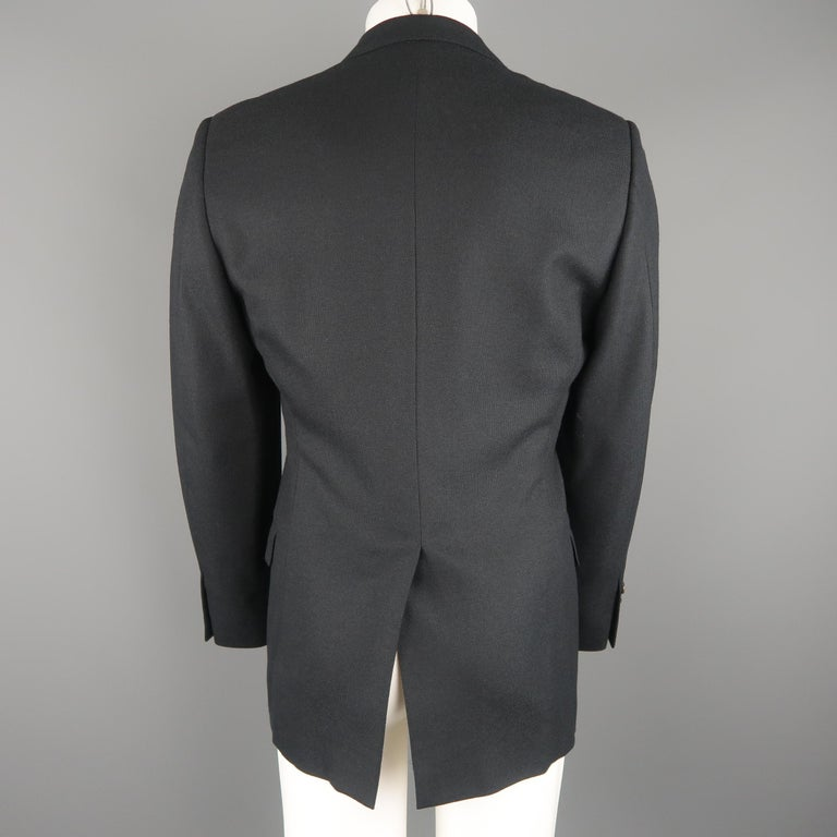 GUCCI 36 Navy Woven Wool / Mohair Notch Lapel Sport Coat In Excellent Condition For Sale In San Francisco, CA