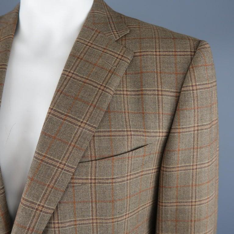 c0c99212 ERMENEGILDO ZEGNA 48 Taupe Window Pane Plaid Wool Notch Lapel Sport Coat