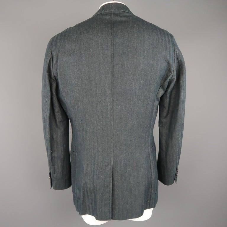 Men's VERSACE COLLECTION 46 Long Indigo Herringbone Cotton / Linen Sport Coat For Sale