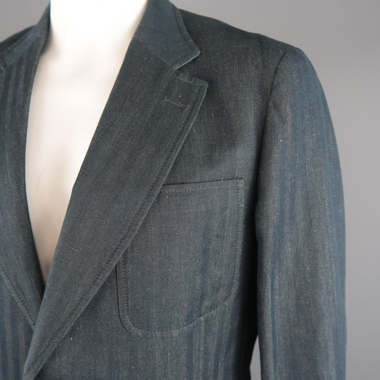VERSACE COLLECTION sport coat comes in teal navy herringbone cotton linen textured fabric with a notch lapel, single breasted two button closure, and triple patch pockets. Made in Italy.   Excellent Pre-Owned Condition. Marked: IT 56 L