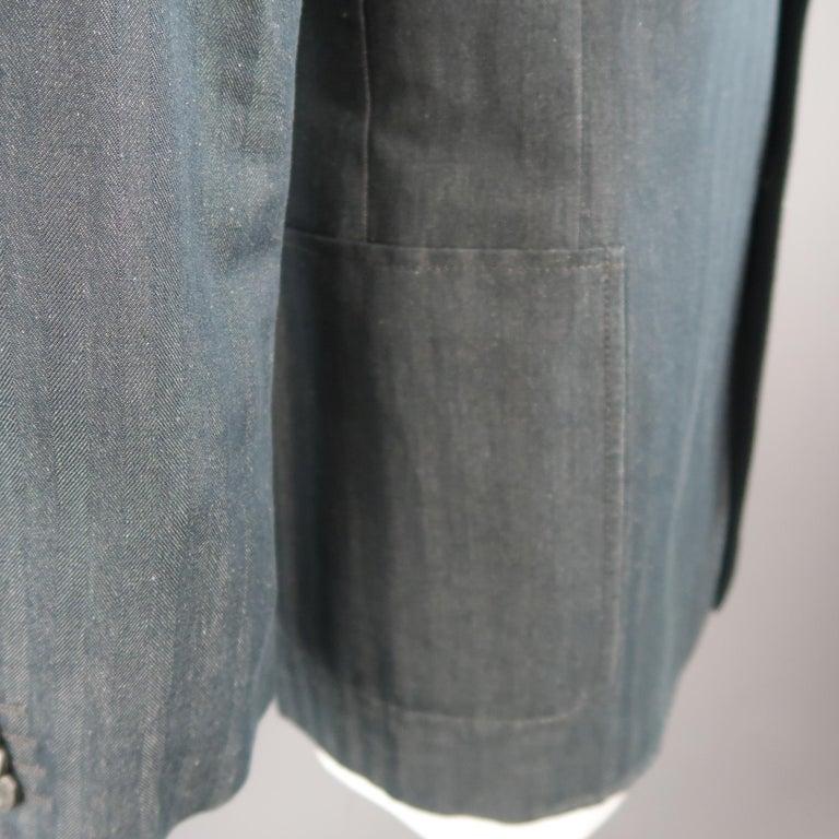 VERSACE COLLECTION 46 Long Indigo Herringbone Cotton / Linen Sport Coat In Excellent Condition For Sale In San Francisco, CA
