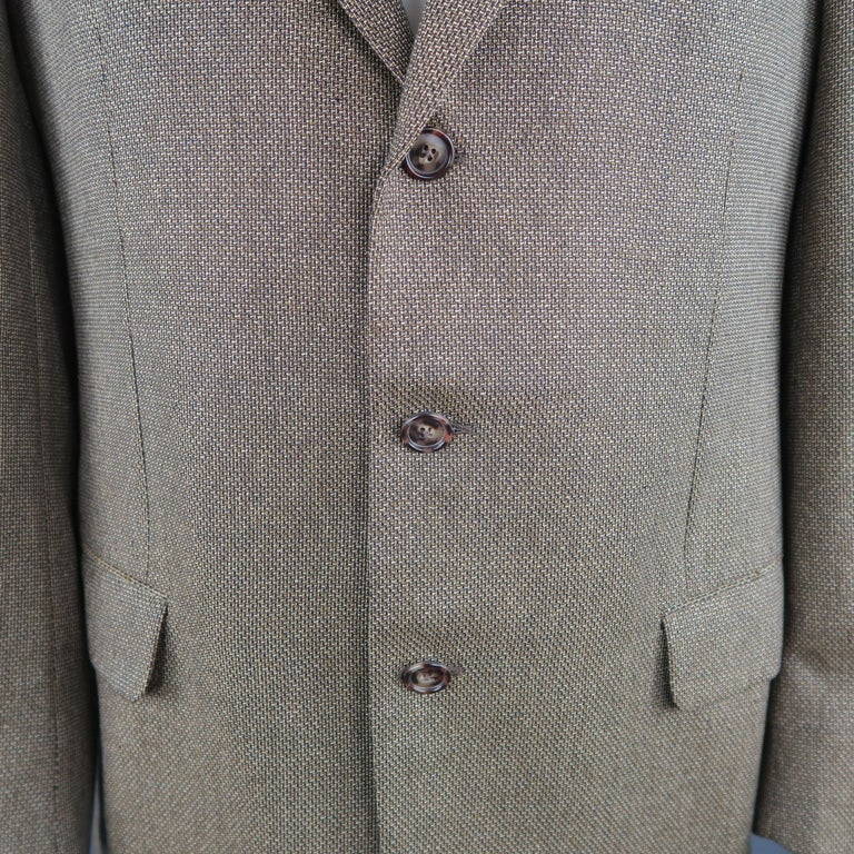 1d9efc4d55 ERMENEGILDO ZEGNA 44 Tan Woven Silk / Wool Nailhead Sport Coat