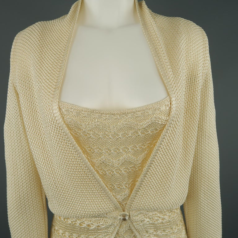 Vintage MISSONI sweater set comes in a cream rayon knit and includes a  single button cardigan f3758c31a