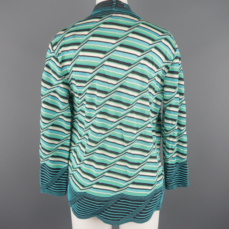 Women's M MISSONI Size 10 Blue & Green Wool / Viscose Textured Print Knit Cardigan For Sale