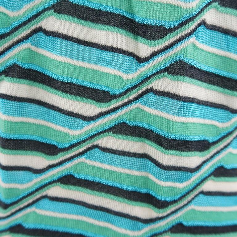M MISSONI Size 10 Blue & Green Wool / Viscose Textured Print Knit Cardigan For Sale 1
