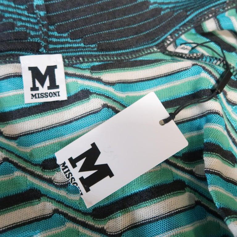 M MISSONI Size 10 Blue & Green Wool / Viscose Textured Print Knit Cardigan For Sale 2