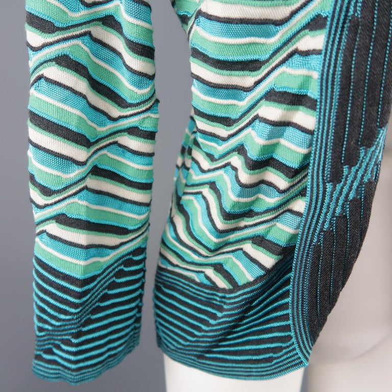 M MISSONI Size 10 Blue & Green Wool / Viscose Textured Print Knit Cardigan In New Condition For Sale In San Francisco, CA