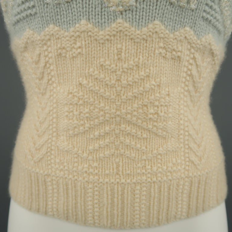 0a94c6419bc RALPH LAUREN Size M Cream   Blue Beaded Cashmere Knit Snowflake Tube Top In  Excellent Condition