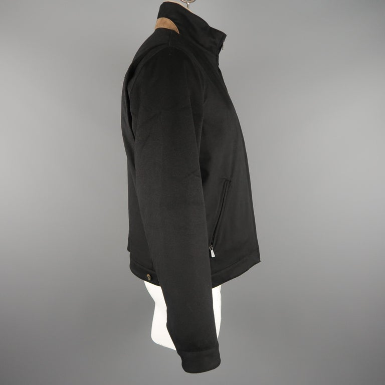 Men's LORO PIANA XL Black Cashmere High Collar Storm System Bomber Jacket For Sale 3