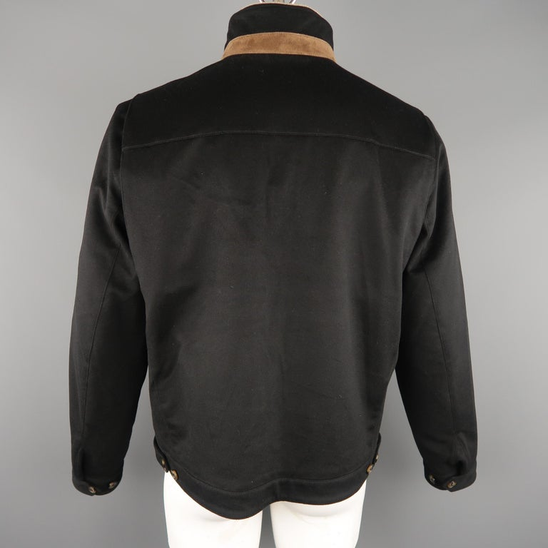 Men's LORO PIANA XL Black Cashmere High Collar Storm System Bomber Jacket For Sale 5