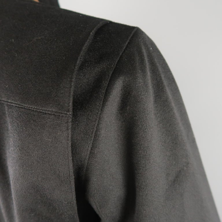 Men's LORO PIANA XL Black Cashmere High Collar Storm System Bomber Jacket For Sale 6
