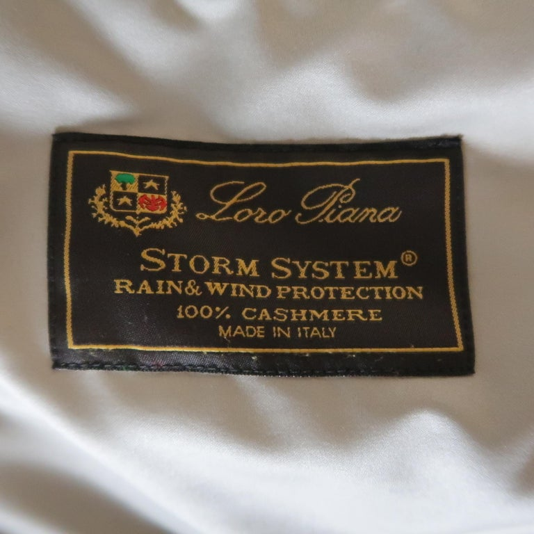Men's LORO PIANA XL Black Cashmere High Collar Storm System Bomber Jacket For Sale 9