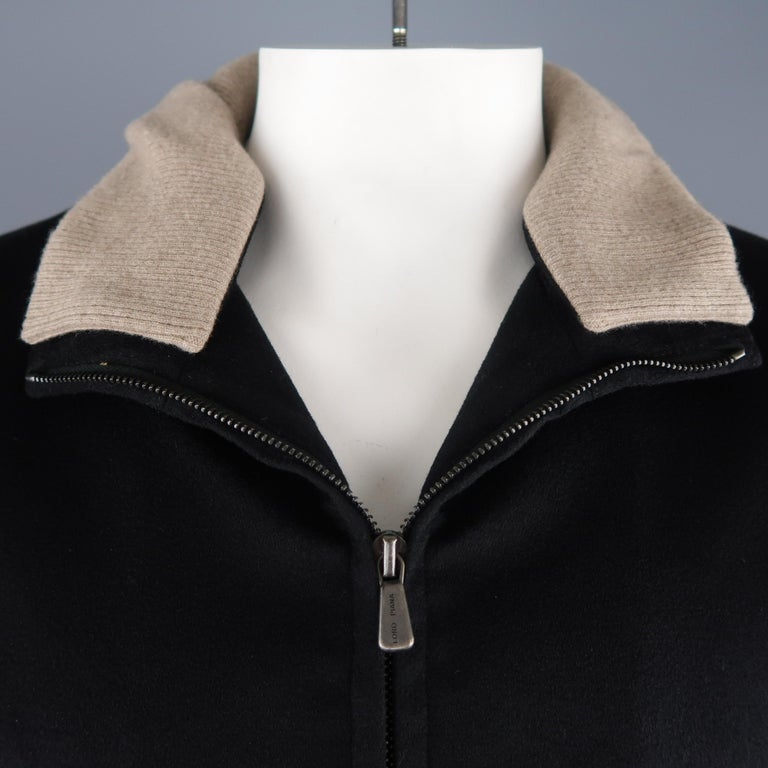 Men's LORO PIANA XL Black Cashmere High Collar Storm System Bomber Jacket In New Condition For Sale In San Francisco, CA
