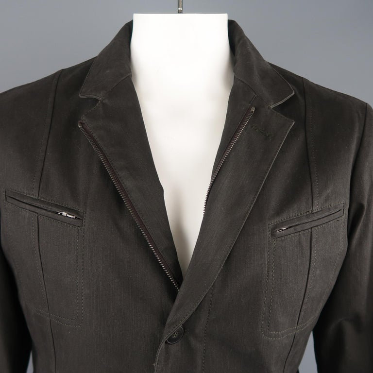 Black Men's LORO PIANA 42 Dark Taupe Twill Detachable Liner Military Jacket NWT For Sale