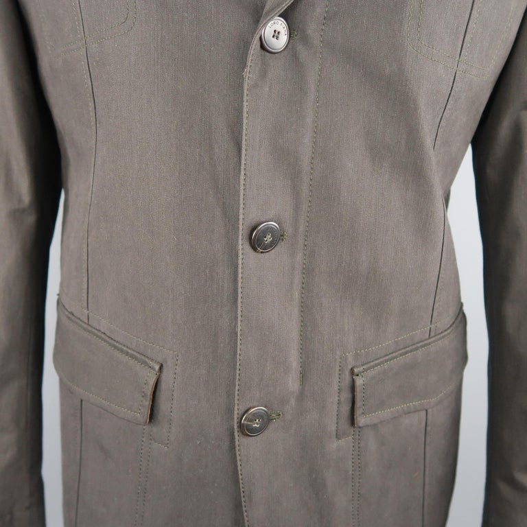 Men's LORO PIANA 42 Dark Taupe Twill Detachable Liner Military Jacket NWT In New Condition For Sale In San Francisco, CA